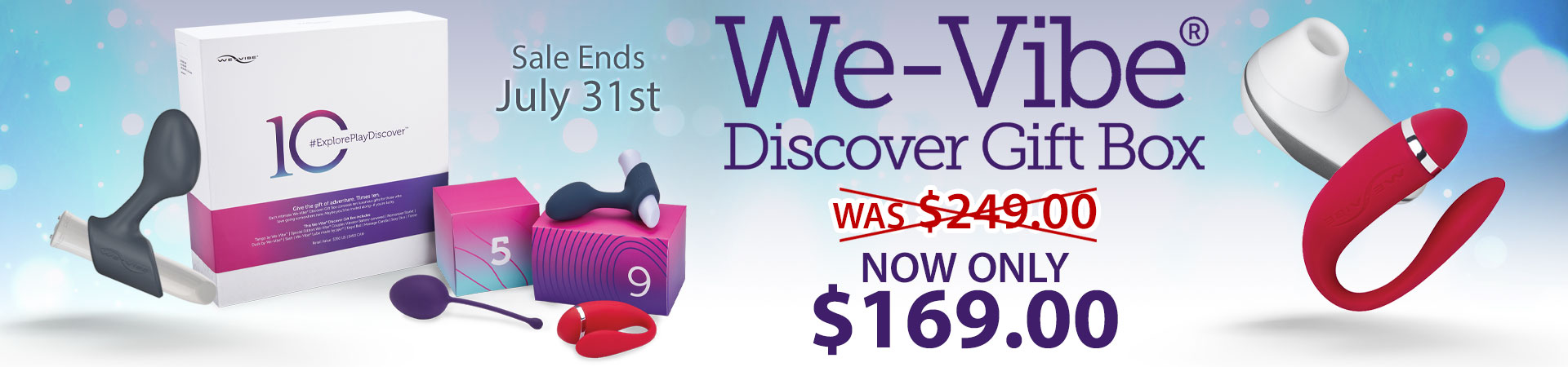 SheVibe Presents One Helluva Deal! The We-Vibe Discover 10 Piece Gift Box Is Now Only $169! Sale Ends July 31st - While Supplies Last.
